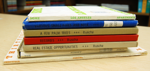 Stack of books printed by Ed Ruscha